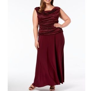 Formal Dress Plus Size 14W Maroon Ruched Gown R&M